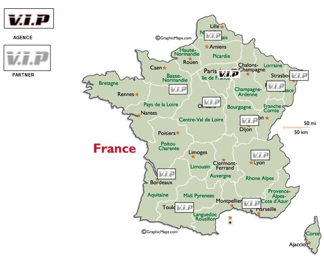Carte de la France représentant les agences VIP Pneu et les partenaires sur le territoire